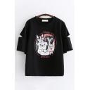 Korean Cute Girls Short Sleeve Round Neck Letter SHARK Dog Graphic Cut Out Loose T Shirt