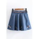 Fashion Girls Elastic Waist Bea Embroidered Fringe Mini Pleated A-Line Denim Skirt