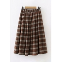 Classic Basic Elastic Waist Plaid Printed Maxi Pleated A-Line Skirt