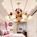 Vintage Rose Chandelier Lighting Fixture 8/9 Lights Metal LED Pendant Light in Ginger for Bedroom