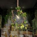 1 Bulb Ball Pendant Light Vintage Black Metal LED Plant Hanging Lamp for Restaurant