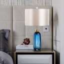 Cylindrical Nightstand Lamp Contemporary Fabric 1 Bulb Reading Book Light in Blue