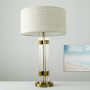 1 Head Dining Room Desk Lamp Modern White Table Light with Cylinder Fabric Shade