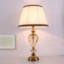 Droplet Clear Crystal Desk Lamp Modern 1 Head Beige Table Light with Fabric Shade