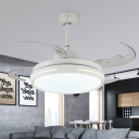 Modernist Drum Semi Flush Lighting LED Acrylic Pendant Fan Lamp Fixture in White with 8 Gold PC Blades, 42