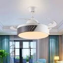 LED Ceiling Fan Light Fixture Modernism Drum Metal 4 Blades Semi Flush Lamp in White and Black, 42