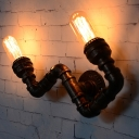 Antiqued Curved Arm Wall Mount Pipe Light 2 Lights Metal Wall Sconce Lamp in Rust