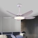 5 Blades LED Acrylic Hanging Fan Light Modern White Round Living Room Semi Flush Ceiling Lamp, 44