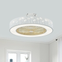 White Circle Fan Lighting Simple Metal 21.5