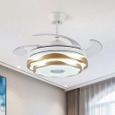Circle Bedroom Fan Lamp Modern Metal LED 42