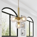 Gold Sputnik Hanging Chandelier Modern 4 Lights Clear Water Glass Pendant Ceiling Lamp