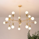 Branch Ceiling Chandelier Modern Metal 15-Head Living Room Pendant Light Fixture in Gold