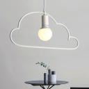 White Cloud Frame Hanging Lighting Minimalist 1 Light Metallic Suspended Pendant Lamp