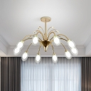 Modernist 10 Bulbs Ceiling Chandelier with Clear Glass Shade Brass Egg Shape Sputnik Pendant Light Fixture