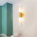 Slim Tubular Corner Sconce Lighting Opal Glass LED Simple Wall Mount Lamp Fixture in Brass