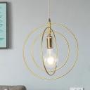 Metallic 3-Ring Pendant Lighting Modern 1-Bulb Gold Finish Hanging Ceiling Lamp for Living Room