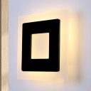 LED Bedside Wall Light Fixture Simple Black Sconce Lamp with Square Acrylic Shade, White/Warm Light