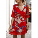 Elegant Womens Short Sleeve V-Neck All Over Floral Hollow Out Mesh Panel Short A-Line Dress