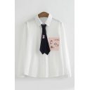 Simple Girls White Long Sleeve Lapel Neck Button Down Cat Print Japanese Letter Panel Relaxed Shirt with Tie