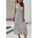 Elegant Ladies Sleeveless Round Neck All Over Floral Printed Ruffled Trim Maxi A-Line Dress