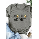 Basic Womens Roll-Up Sleeve Round Neck Letter AVOCADO ADDICT Graphic Relaxed Tee Top