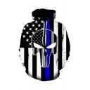 Amazing Cool Boys Long Sleeve Drawstring Pentagram Stripe Skull 3D Printed Relaxed Hoodie with Pocket