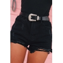 Sexy Summer Girls High Waist Ripped Raw Edge Skinny Plain Denim Shorts