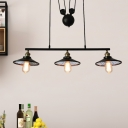 Wide Flare Restaurant Pendant Lighting Countryside Iron 3 Heads Black Pulley Island Lamp Fixture
