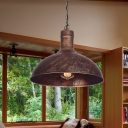 Metallic Rust Pendant Lighting Barn 1 Light Antiqued Ceiling Suspension Lamp, 12