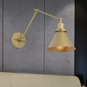 Antiqued Cone Wall Sconce 1 Bulb Metal Swing Arm Wall Light Fixture in Gold with Plug In Cord