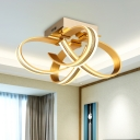 Gold Finish Ribbon Flush Light Fixture Contemporary LED Acrylic Semi Ceiling Flush Mount for Living Room