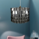 1-Light Bedroom Ceiling Lighting Contemporary Black Hanging Pendant with Sldined Drum Shell Shade