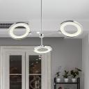 Metallic Ring Chandelier Lighting Modernism 3-Head LED Ceiling Hang Fixture in Chrome