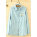 Trendy Girls Long Sleeve Lapel Collar Button Down Deer Embroidery Relaxed Fit Shirt in Blue