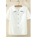 Fashionable Womens Short Sleeve Peter Pan Collar Button Down Flying Pig Embroidered Relaxed Fit Shirt in White