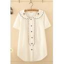 Cute Girls Short Sleeve Peter Pan Collar Button Down Floral Stripe Embroidered Curved Hem Loose Shirt in White