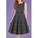 Fashionable Womens Sleeveless Round Neck Polka Dot Print Buckle Belt Long Pleated A-Line Dress