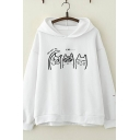 Chic Cute Girls Long Sleeve Letter YOU GOT ME Cat Graphic Relaxed Fit Hoodie