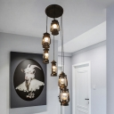 6 Heads Stair Cluster Pendant Light Modern Bronze Ceiling Hang Fixture with Kerosene Lamp Clear Glass Shade