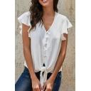 Elegant Fancy Plain Ruffle Sleeves V-Neck Button Front Tied Hem Relaxed Fit Shirt for Women