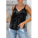 Hot Sale Women's Solid Color Sleeveless Lace Trim Velvet Hollow Out Back Loose Cami Top