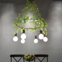 6 Lights Exposed Bulb Cluster Pendant Industrial Black Metal Plant Ceiling Hang Fixture for Restaurant