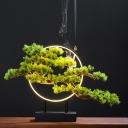Black LED Nightstand Lighting Industrial Wooden Circular Night Table Light for Restaurant, 12