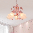 Pink 5 Heads Chandelier Lighting Countryside Metal Floral Hanging Light Fixture with Frosted Glass Shade