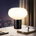 Black Oval Task Light Modern 1 Bulb Opal Glass Desk Lamp with Cylinder Marble Base