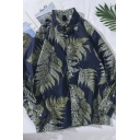 Fashionable Long Sleeve Lapel Neck All-Over Leaf Print Oversize Shirt for Guys