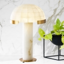 Modernism Bowl Nightstand Lamp Marble 1 Bulb Reading Book Light in White for Bedroom