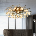 Metal Brass Ceiling Fixture Tulip 38 Bulbs Pastoral LED Semi Flush Light for Living Room