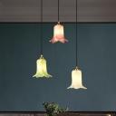 3 Lights Lily Cluster Pendant Pastoral White/Green/Purple Metal LED Hanging Light for Living Room