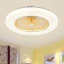 Acrylic Doughnut Semi Flush Mount Lighting Kids Living Room LED Ceiling Fan Lamp in Yellow/Pink, 23